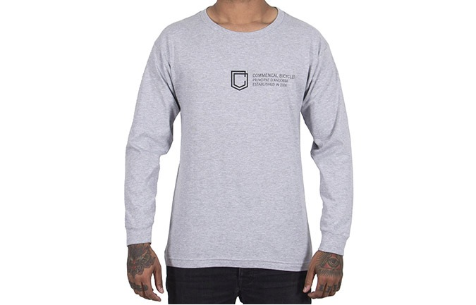 T-SHIRT LONG SLEEVE COMMENCAL SHIELD HEATHER GREY